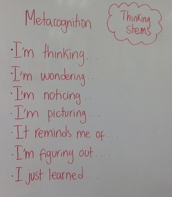 Metacognition thinking stems.